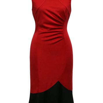 Streetstyle  Casual Asymmetric Neck Ruched Color Block Mermaid Bodycon Dress
