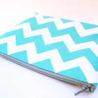 #Aqua #blue, #turquoise #chevron #cosmetic #case, clutch, #makeup bag, #zipper #pouch