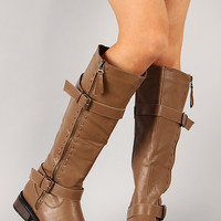 Moto-5 Buckle Zipper Riding Knee High Boot