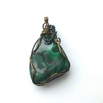 Malachite Bronze Wire Wrapped Pendant, Green Gemstone Pendant, Wire Wrapped Pendant, Forest Pendant, Nickle free