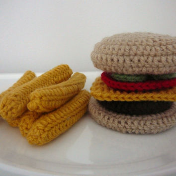 Crochet Burger and Fries PDF Pattern INSTANT DOWNLOAD