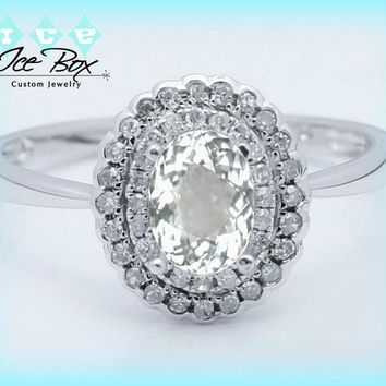White Sapphire Engagement Ring 1.1ct Oval set in a 14k White gold double diamond halo setting