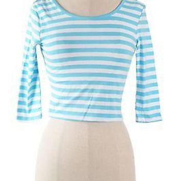 Cute Striped Round Neck 3/4 Sleeve Scoop Back Fitted Stretchy Crop Top