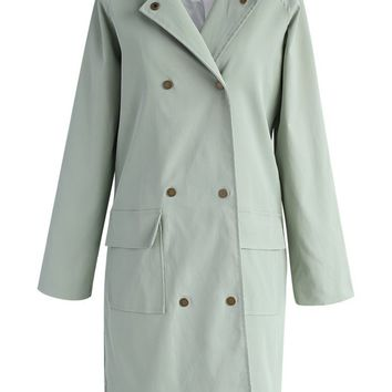 Subtle Mint Double-breasted Trench Coat