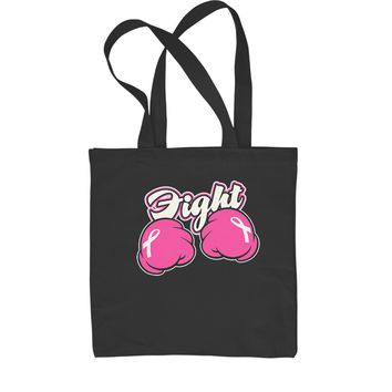 Fight Cancer Pink Cartoon Boxing Gloves Shopping Tote Bag