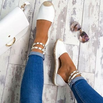 STYLEDOMEWomen Sandals Fashion Peep Toe Summer Shoes Woman Faux Suede Flat Sandals Size 35-43 Casual Shoes Woman Sandals Zapatos Mujer