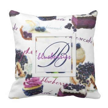 Watercolor Blueberries and Sweets Monogram Throw Pillow