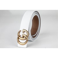 GUCCI retro simple wild classic buckle female double G smooth buckle belt F0333-1 White