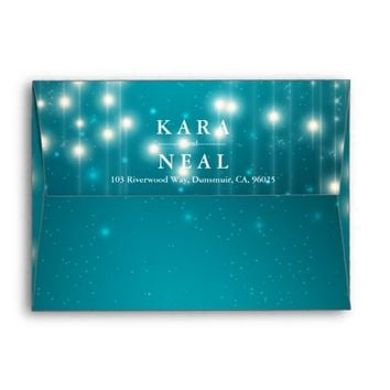 String Lights & Turquoise Glitter Sparkle Envelope