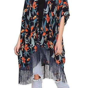 Ladies fashion tropical floral fringed kimono