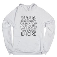 Alarm Clock Whore-Unisex White Hoodie