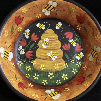 Primitive Folk Art Bees and Tulips Wood Bowl - MADE TO ORDER - Bees. Bee Skep, Red Tulips, Yellow Flowers Hand Painted