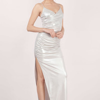 Helix Draped Metallic Maxi Dress