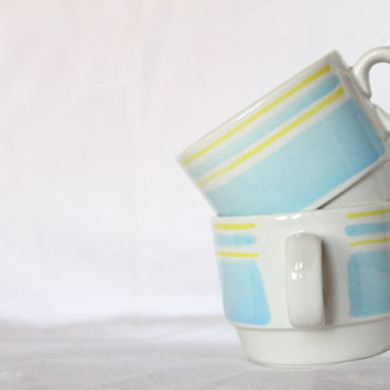 Vintage Spring Cups - Vintage Retro - Pastel Blue Yellow White Striped -  His and Hers Stackable Mug set.