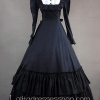 Gothic Victorian Black and White Bow and Buttons Decoration Lolita Dress