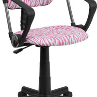 Pink and White Zebra Print Computer Chair with Arms