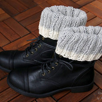 Boot cuffs, boot toppers - handknit in pure swedish wool, boot toppers in light gray and nature white, for her, stocking stuffer