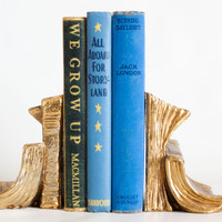 Vintage Book Shaped Bookends, Metal Book Ends Library Decor, Gold Tone Book Ends