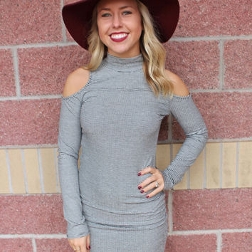 Striped bodycon cold shoulder dress