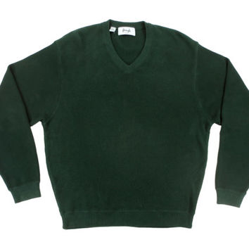 Dark Green Pullover V Neck Sweater by Pringle - Cotton Jumper Pringle Scotland - Ivy League Menswear Gifts for Him - Men's Size L