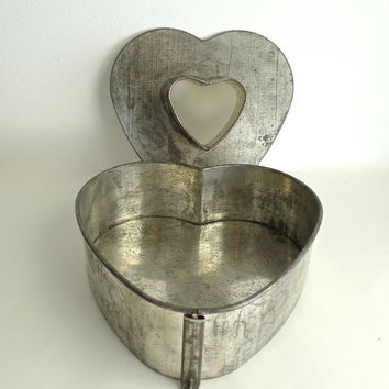 Rare Antique Metal or Tin Heart Shaped Springform Cake Pan or Mold - Rustic, Industrial or Shabby Chic