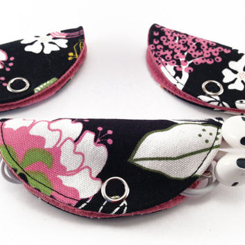 Cord Holder, Earbuds Holder, Cable Management - Floral Pattern & Pink Cotton