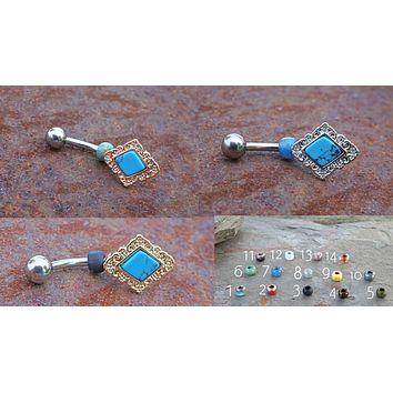 Diamond Turquoise Belly Button Ring