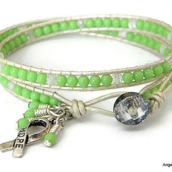 Lyme Disease Awareness Bracelet Czech Glass Beads Leather Wrap Bracelet Double Wrap Bracelet with Czech Glass Beads