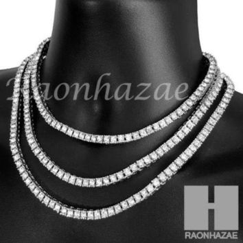 Iced Out Silver Tennis Choker Necklace 1 Row Solitaire Lab Diamond 4.5mm Chain S