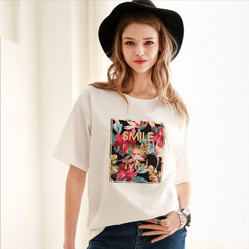 White Floral Letter Short Sleeve Loose T-Shirt