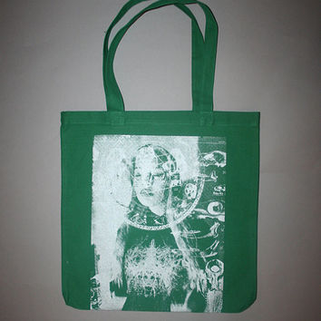 psychedelia, green tote, canvas tote bag,  psychedelia tote, green silver, silver print, screenprinted, silkscreen, ooak, one of a kind