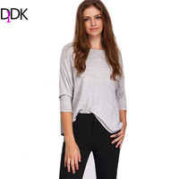 DIDK Autumn Casual Tops Women Loose Tees Grey Crew Neck Drop Shoulder Long Sleeve Clothing Basic Simple T-shirt
