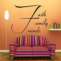 Wall Decals Vinyl Decal Sticker Quote Faith Family Friends Lettering Home Interior Design Art Murals Bedroom Living Room Decor