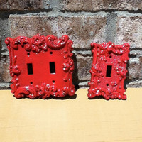 ornate vintage switch plate bright red metal retro home decor lighting kitchen decor