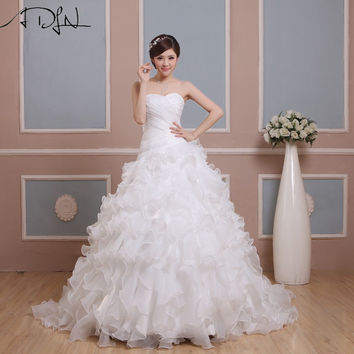 New Design Cheap Wedding Dresses vestidos de novia A-line Sweetheart With Crystal Beads Organza Bridalsweet 16 dresses