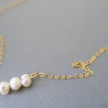 Pearl Necklace, Delicate Gold Fill Bar Necklace, Tiny Pearl Necklace, Simple, Minimal, Dainty Everyday Necklace by LaLaMood HKY893