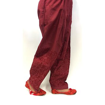 Paitala with maroon print work - Maroon