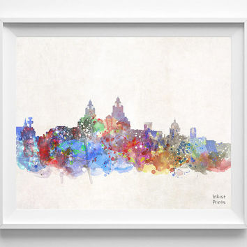 Liverpool Skyline, Netherlands Watercolor, Poster, Dutch, Print, Bedroom, Cityscape, City Painting, Illustration Art, Europe [NO 430]