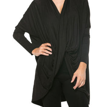 Long Sleeve Draped Criss Cross Front Top