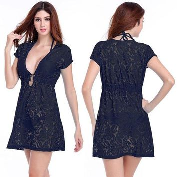 DCCKLW8 Ring Center Lace Beach Tunic 2017 Deep V-neck Beach Cover Ups Neck-tie Women Beachwear Sexy Long Black Lace Beach Dress