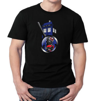 Much Bigger Inside tardis Mens T-shirt Black and White