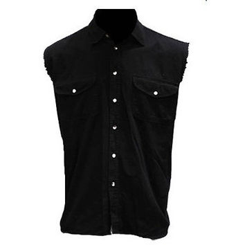 Mens Motorcycle Biker Shirt Black Cut Off Sleeveless Cotton Denim Button up