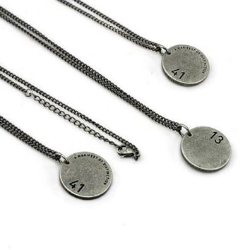 blindreason fashion retro engraved letter numeral pendant couple necklace