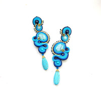 Long Clip On Earrings - Long Blue Soutache Earrings - High Fashion Blue Clip On Earrings - Soutache Jewelry - Long Blue Fashion Clip