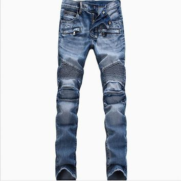 New 2017 Men's Fashion Brand Designer Ripped Biker Jeans Men Distressed Moto Denim Joggers Washed Pleated Jean Pants Black Blue