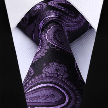 Purple Paisley Silk Necktie Pocket Square