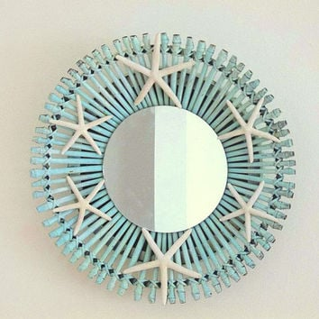 Beach Decor Starfish Wall Mirror, Round Coastal Mirror, Turquoise Aqua Blue Mirror, Nautical Ocean Decor Beach Cottage Starfish wall hanging
