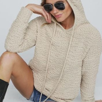 Popcorn Hoodie Pullover Sweater - Ivory