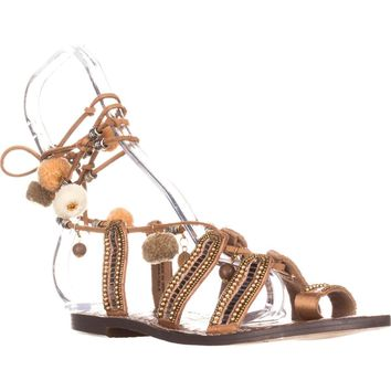 Sam Edelman Graciela Flat Lace-Up Sandals, Saddle Leather, 6.5 US / 36.5 EU