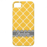 Fashionable Yellow Moroccan Lattice and Grey Lace Cover For iPhone 5/5S